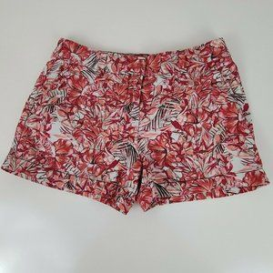 Loft Ann Taylor Shorts Womens Size 0 Pink Red Flor